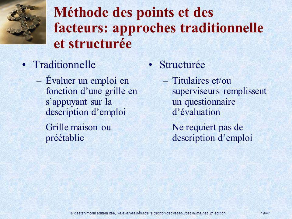 © gaëtan morin éditeur ltée, Relever les défis de la gestion des ressources humaines, 2 e édition.19/47 Méthode des points et des facteurs: approches