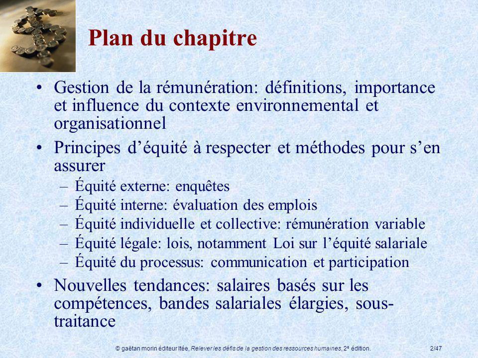 © gaëtan morin éditeur ltée, Relever les défis de la gestion des ressources humaines, 2 e édition.2/47 Plan du chapitre Gestion de la rémunération: dé