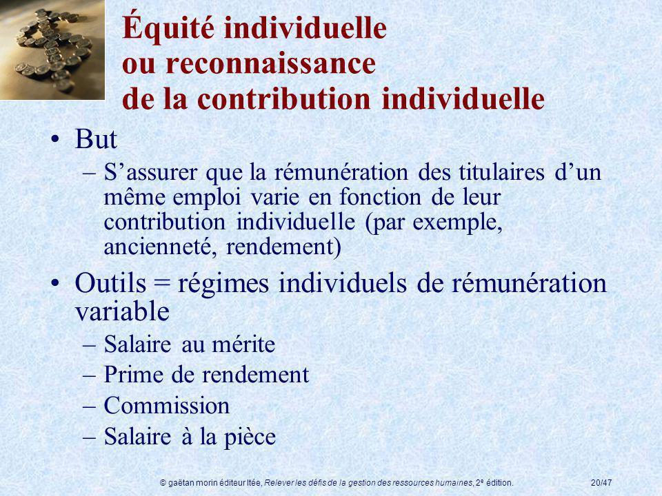 © gaëtan morin éditeur ltée, Relever les défis de la gestion des ressources humaines, 2 e édition.20/47 Équité individuelle ou reconnaissance de la co