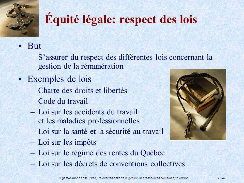 © gaëtan morin éditeur ltée, Relever les défis de la gestion des ressources humaines, 2 e édition.23/47 Équité légale: respect des lois But –Sassurer