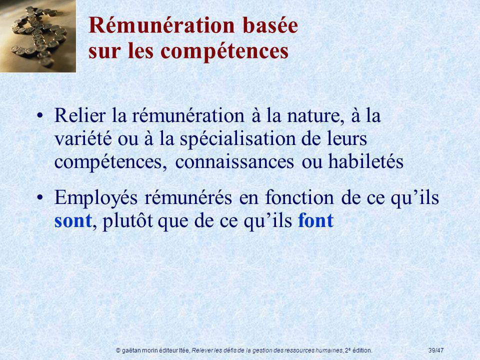 © gaëtan morin éditeur ltée, Relever les défis de la gestion des ressources humaines, 2 e édition.39/47 Rémunération basée sur les compétences Relier