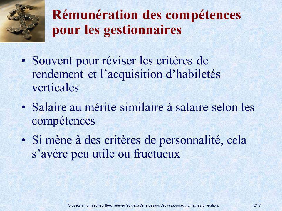 © gaëtan morin éditeur ltée, Relever les défis de la gestion des ressources humaines, 2 e édition.42/47 Rémunération des compétences pour les gestionn
