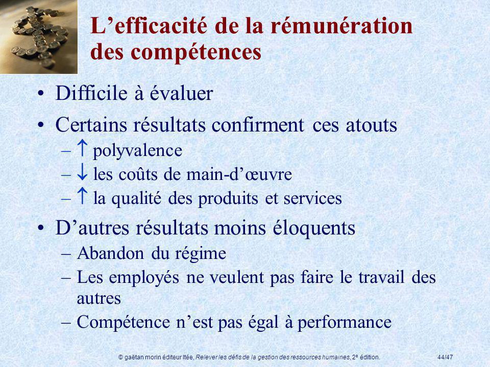 © gaëtan morin éditeur ltée, Relever les défis de la gestion des ressources humaines, 2 e édition.44/47 Lefficacité de la rémunération des compétences
