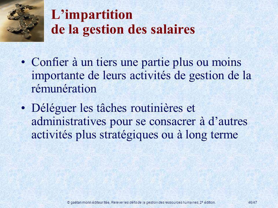 © gaëtan morin éditeur ltée, Relever les défis de la gestion des ressources humaines, 2 e édition.46/47 Limpartition de la gestion des salaires Confie