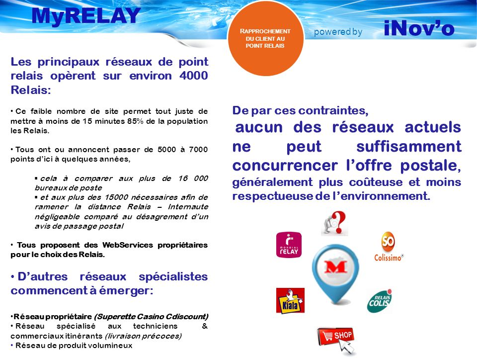 powered by MyRELAY iNovo MyRELAY Suggestion des points MyRELAY Suggestion des points Reseaux Externes MyRELAY BackOffice MyRELAY BackOffice Mise à jour du réseau EDI & Flux pour Logisticiens Track & Trace Notification Extranet Service clients MyRELAY Desktop MyRELAY Desktop V IRTUALISER SON RÉSEAU DE DISTRIBUTION EN RELAIS SERVICE CLIENT