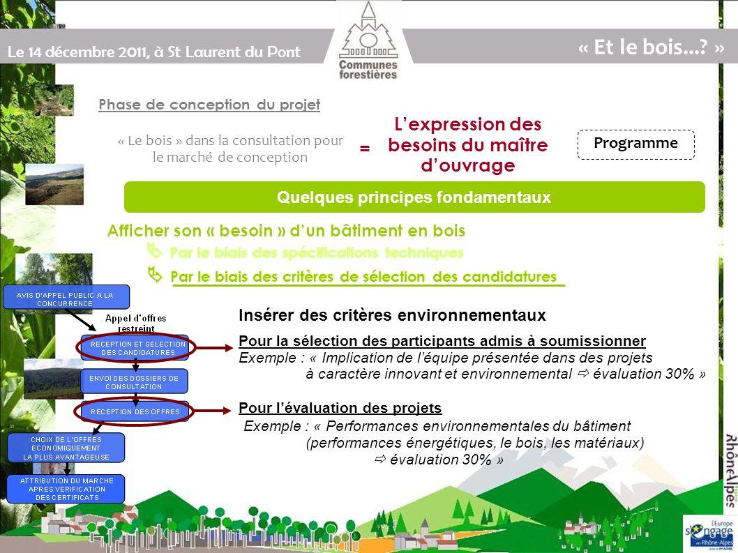 Le 14 décembre 2011, à St Laurent du Pont Par le biais des spécifications techniques Par le biais des critères de sélection des candidatures Afficher son « besoin » dun bâtiment en bois « Et le bois....