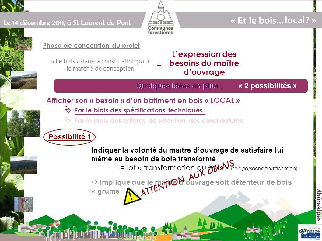 Le 14 décembre 2011, à St Laurent du Pont Quelques idées en plus...