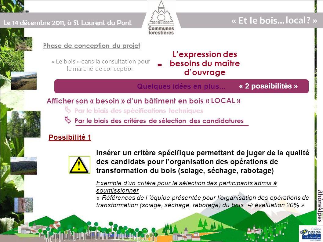 Le 14 décembre 2011, à St Laurent du Pont Par le biais des critères de sélection des candidatures Par le biais des spécifications techniques « Le bois » dans la consultation pour le marché de conception Quelques idées en plus...