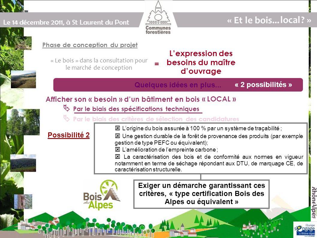 Le 14 décembre 2011, à St Laurent du Pont Par le biais des spécifications techniques Par le biais des critères de sélection des candidatures Quelques idées en plus...