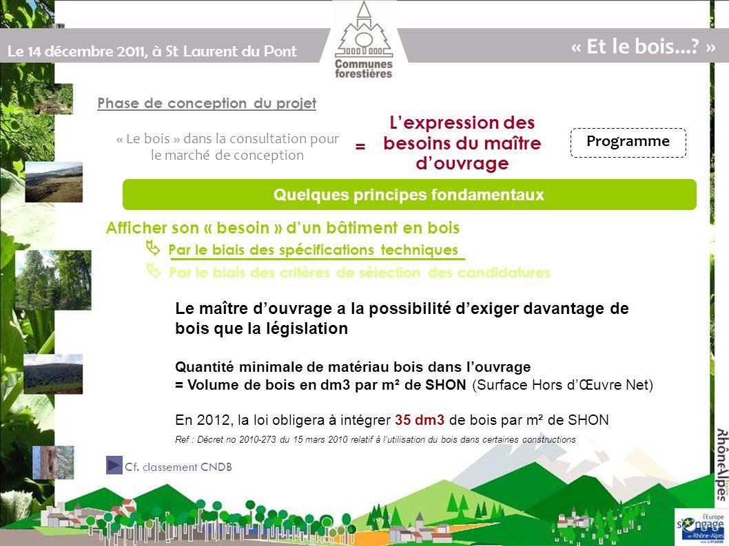 Le 14 décembre 2011, à St Laurent du Pont En dm3 par m² de SHON Classes de bâtiment selon la quantité de bois dans louvrage (source: CNDB)