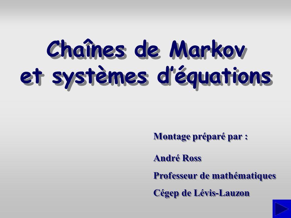 Introduction Nous présentons ici les notions de chaîne de Markov et de point invariant dune telle chaîne.