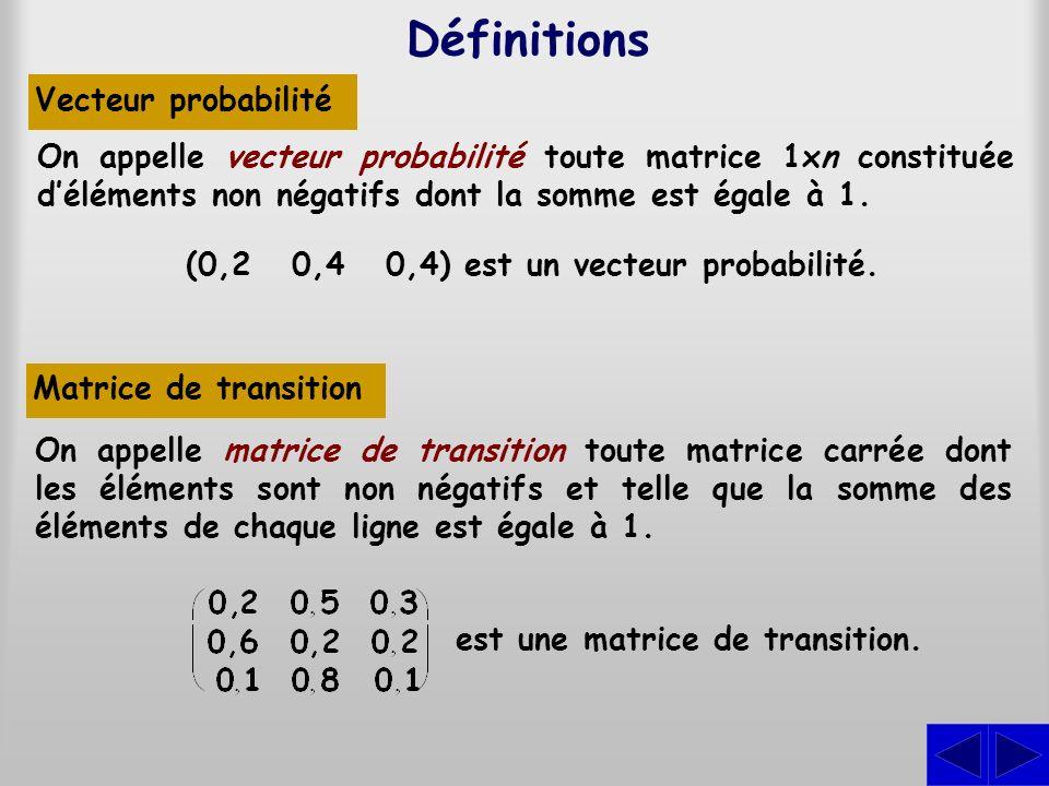 Représentons les probabilités de change- ment détat par une matrice de transi- tion.