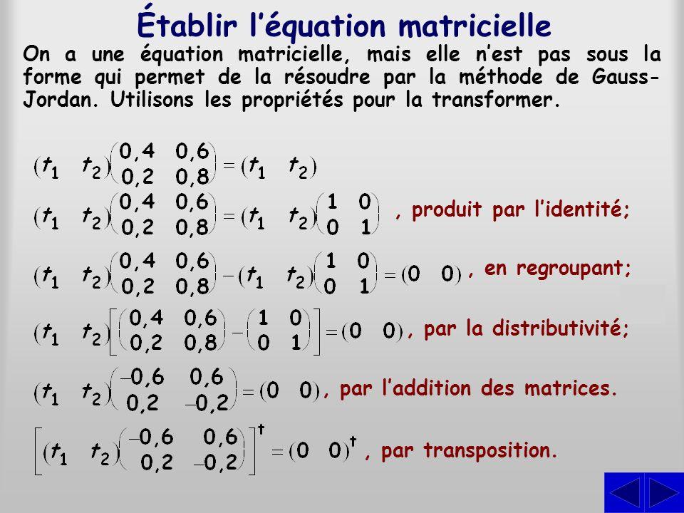 Établir léquation matricielle, transposition du produit; On a manifestement deux contraintes équivalentes et lune delles peut être éliminée.