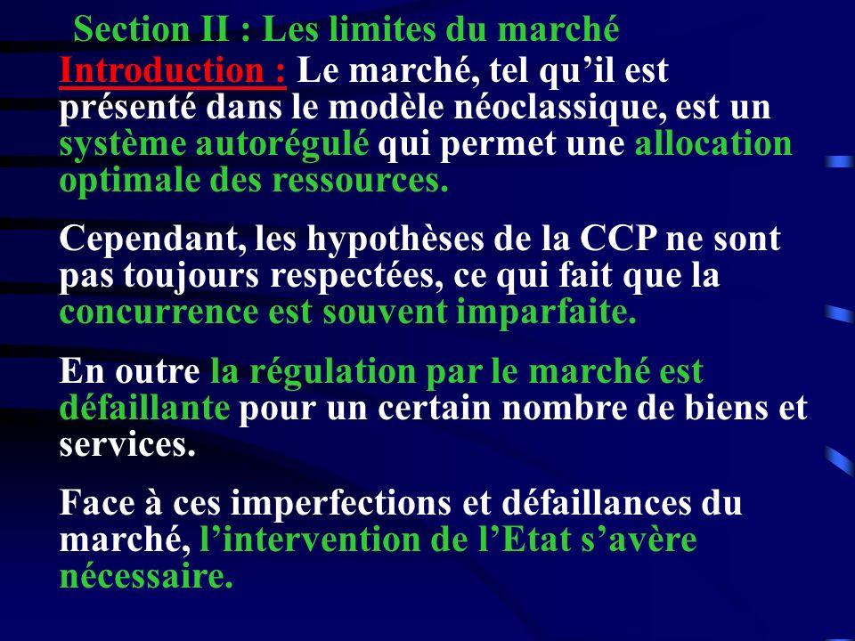 Section II : Les limites du marché Introduction : Le marché, tel quil est présenté dans le modèle néoclassique, est un système autorégulé qui permet u