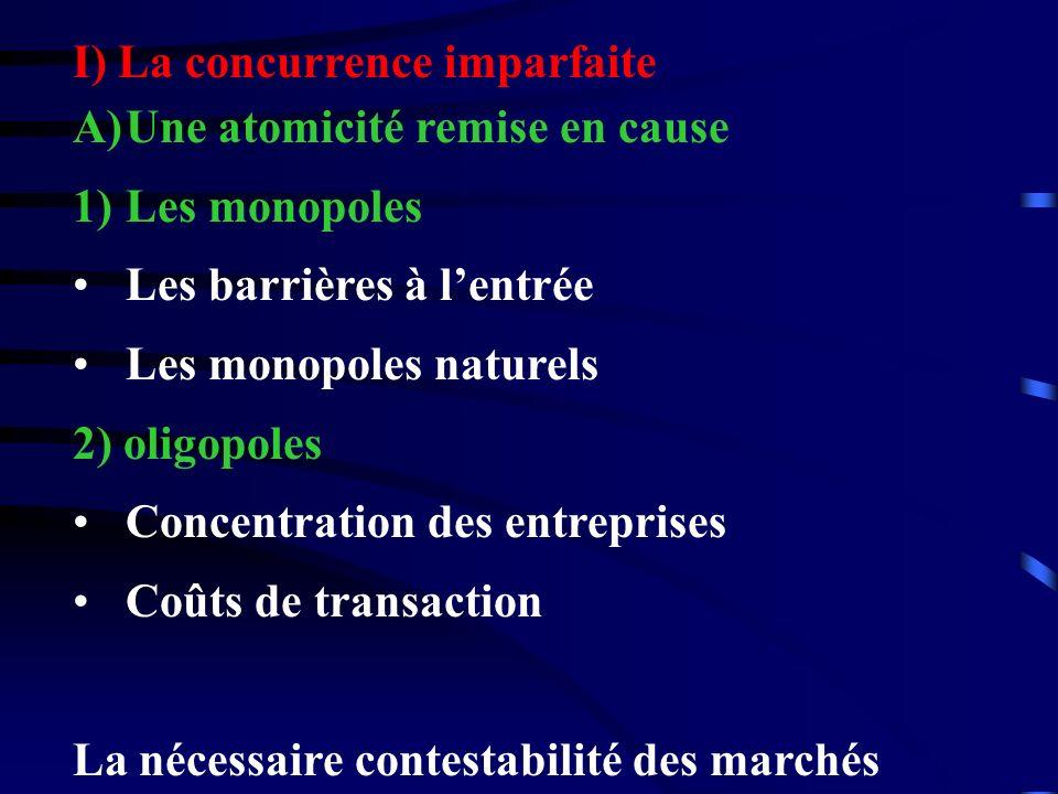 I) La concurrence imparfaite A)Une atomicité remise en cause 1)Les monopoles Les barrières à lentrée Les monopoles naturels 2) oligopoles Concentratio