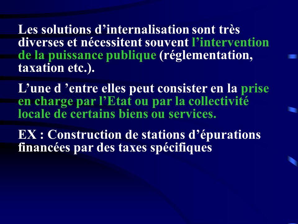 Les solutions dinternalisation sont très diverses et nécessitent souvent lintervention de la puissance publique (réglementation, taxation etc.). Lune