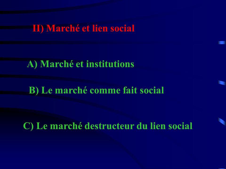 II) Marché et lien social A) Marché et institutions B) Le marché comme fait social C) Le marché destructeur du lien social