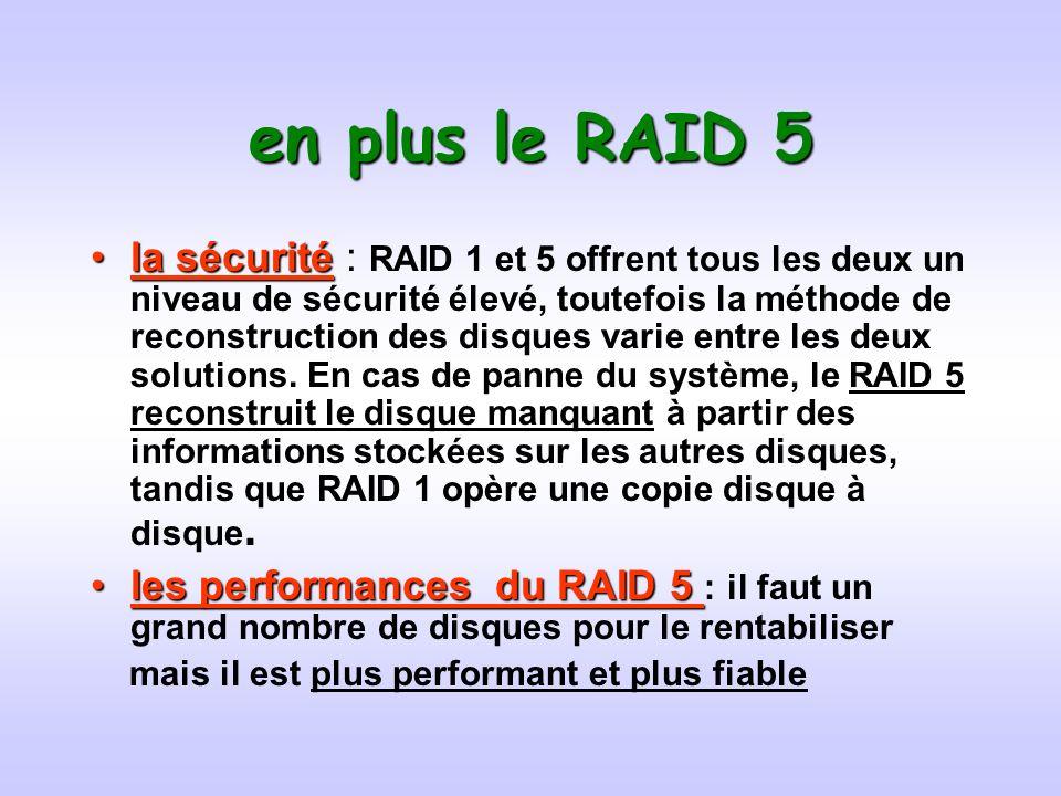 en plus le RAID 5 la sécuritéla sécurité : RAID 1 et 5 offrent tous les deux un niveau de sécurité élevé, toutefois la méthode de reconstruction des disques varie entre les deux solutions.