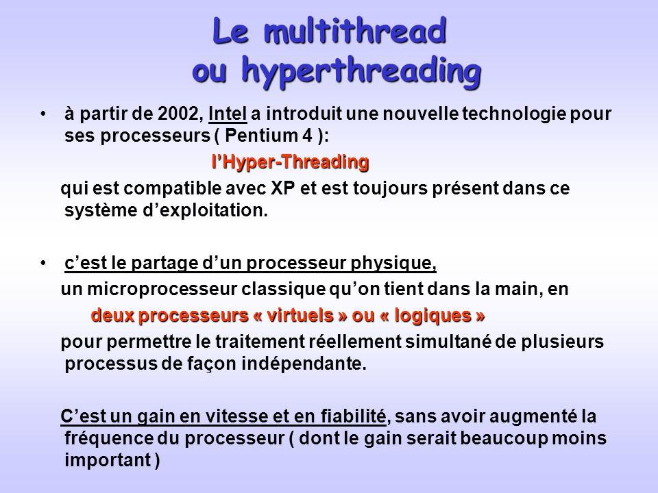 Le multithread ou hyperthreading à partir de 2002, Intel a introduit une nouvelle technologie pour ses processeurs ( Pentium 4 ): lHyper-Threading lHyper-Threading qui est compatible avec XP et est toujours présent dans ce système dexploitation.