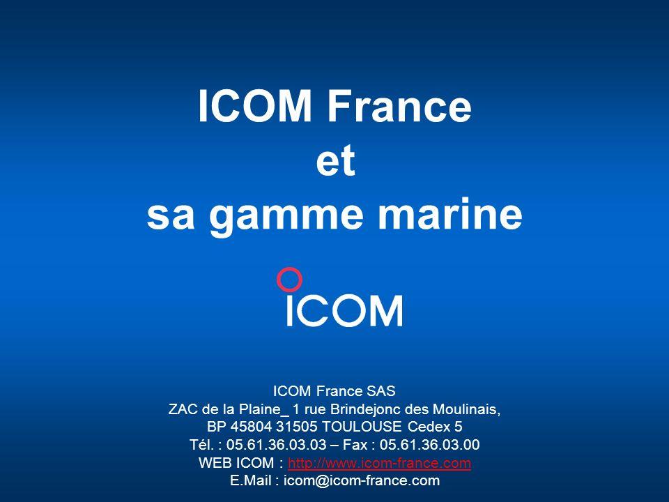 ICOM France _ Juin 2008 12 Les points forts des mobiles marines ICOM Dimension compacte qui facilite lintégration dans les bâteaux Ecran LCD et clavier ergonomique rétro éclairés Grande qualité audio avec le haut-parleur en face avant Accès rapide au canal 16 Triple veille Etanchéité IP
