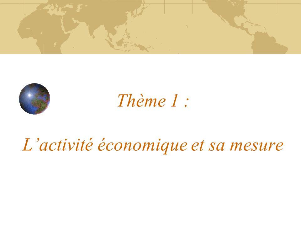 Thème 1 : Lactivité économique et sa mesure