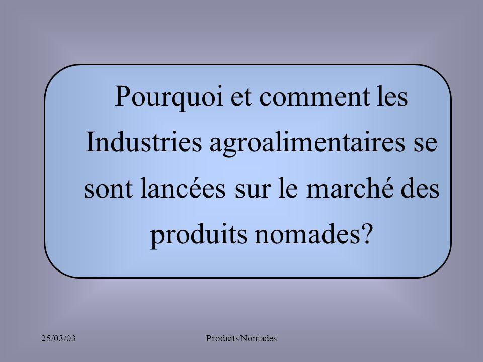 25/03/03Produits Nomades Pourquoi et comment les Industries agroalimentaires se sont lancées sur le marché des produits nomades?