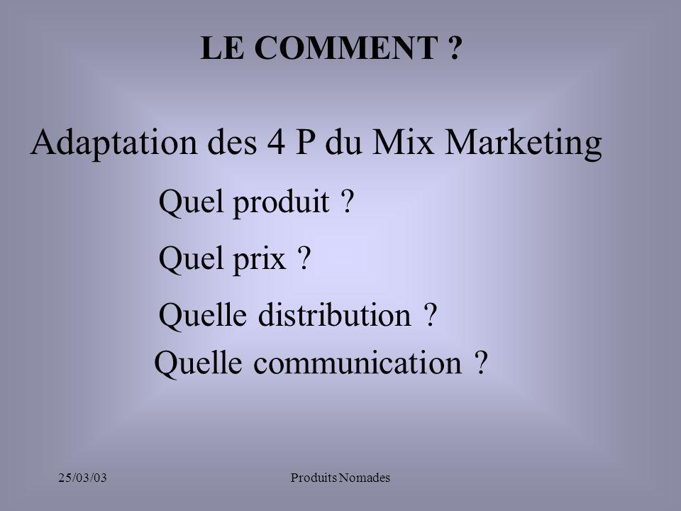 25/03/03Produits Nomades LE COMMENT .Adaptation des 4 P du Mix Marketing Quel produit .