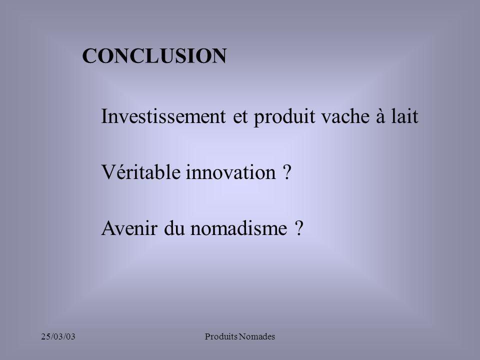 25/03/03Produits Nomades CONCLUSION Véritable innovation .