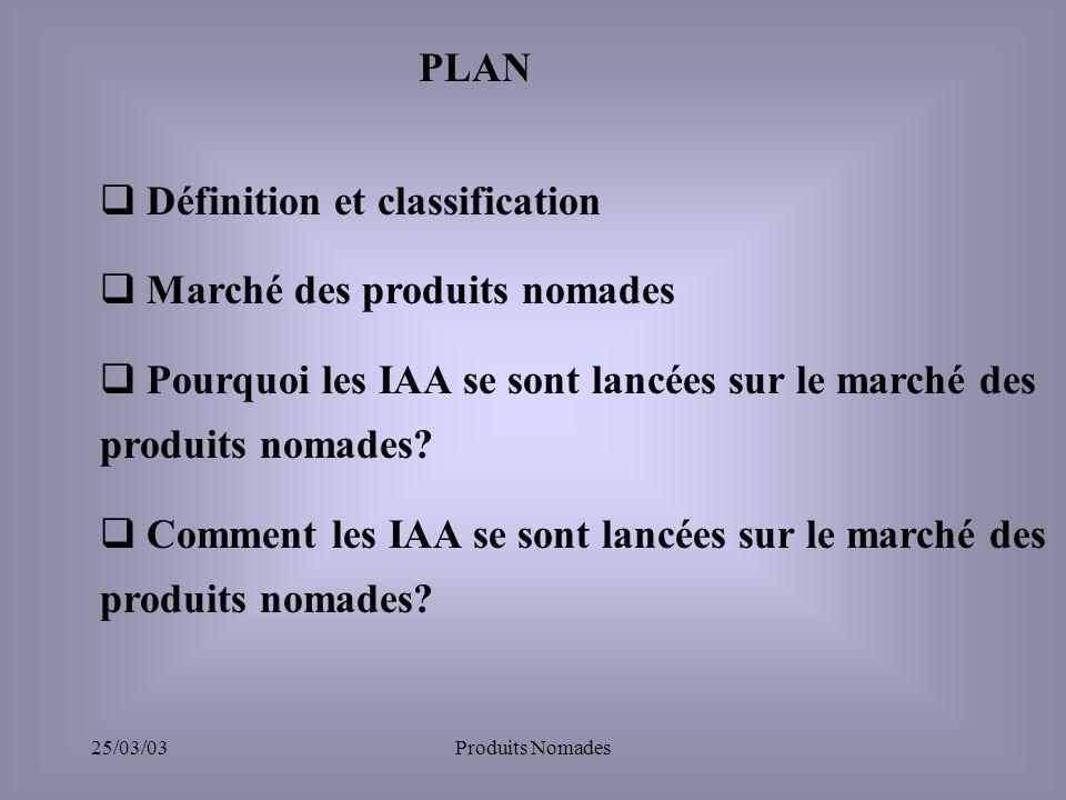 25/03/03Produits Nomades Définition et classification Marché des produits nomades Pourquoi les IAA se sont lancées sur le marché des produits nomades.