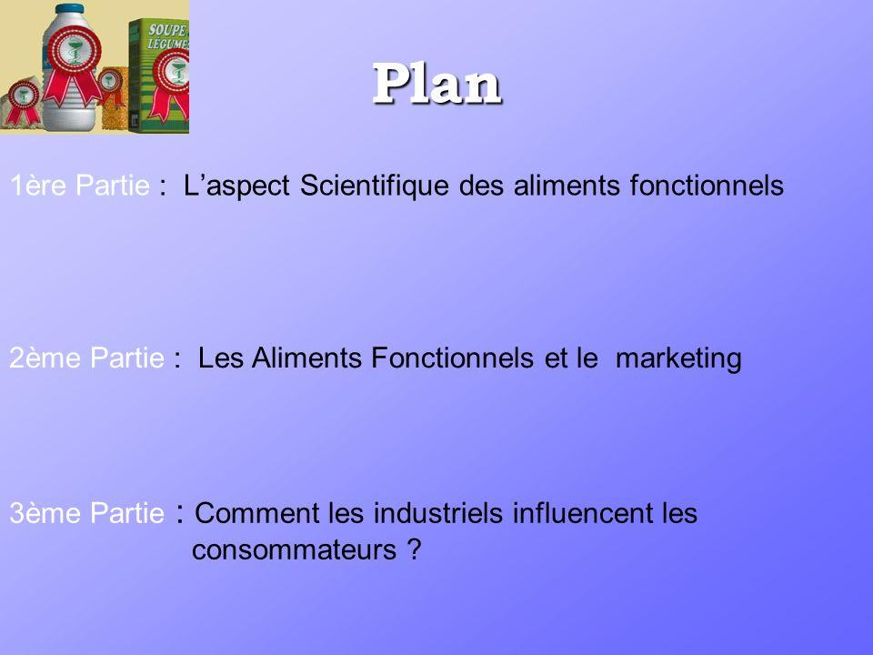 Plan 1ère Partie : Laspect Scientifique des aliments fonctionnels 2ème Partie : Les Aliments Fonctionnels et le marketing 3ème Partie : Comment les industriels influencent les consommateurs ?