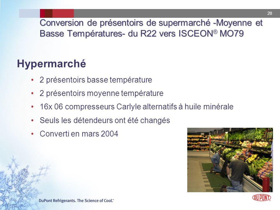 28 Conversion de présentoirs de supermarché -Moyenne et Basse Températures- du R22 vers ISCEON ® MO79 Hypermarché 2 présentoirs basse température 2 pr