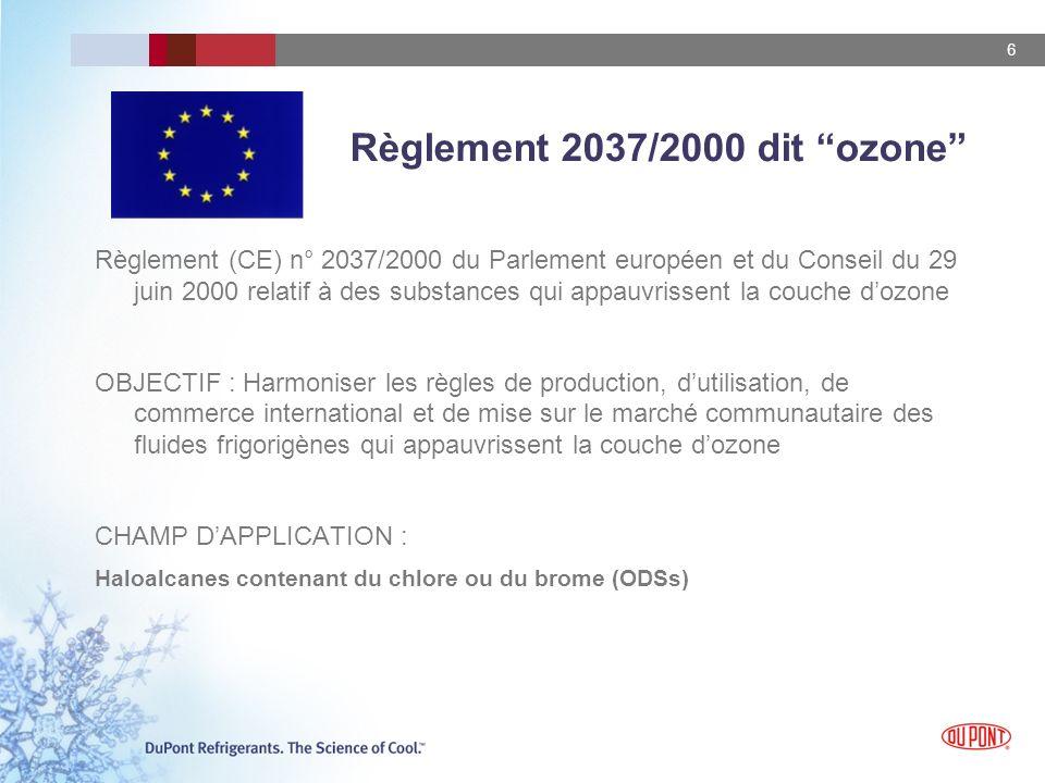 6 Règlement 2037/2000 dit ozone Règlement (CE) n° 2037/2000 du Parlement européen et du Conseil du 29 juin 2000 relatif à des substances qui appauvrissent la couche dozone OBJECTIF : Harmoniser les règles de production, dutilisation, de commerce international et de mise sur le marché communautaire des fluides frigorigènes qui appauvrissent la couche dozone CHAMP DAPPLICATION : Haloalcanes contenant du chlore ou du brome (ODSs)