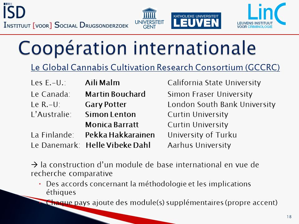 Le Global Cannabis Cultivation Research Consortium (GCCRC) Les E.-U.: Aili Malm California State University Le Canada: Martin Bouchard Simon Fraser University Le R.-U: Gary Potter London South Bank University LAustralie: Simon LentonCurtin University Monica Barratt Curtin University La Finlande: Pekka Hakkarainen University of Turku Le Danemark: Helle Vibeke Dahl Aarhus University la construction dun module de base international en vue de recherche comparative Des accords concernant la méthodologie et les implications éthiques Chaque pays ajoute des module(s) supplémentaires (propre accent) 18