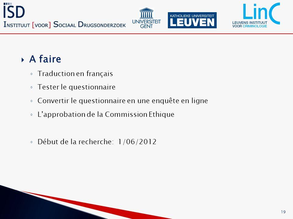 A faire Traduction en français Tester le questionnaire Convertir le questionnaire en une enquête en ligne Lapprobation de la Commission Ethique Début de la recherche: 1/06/2012 19