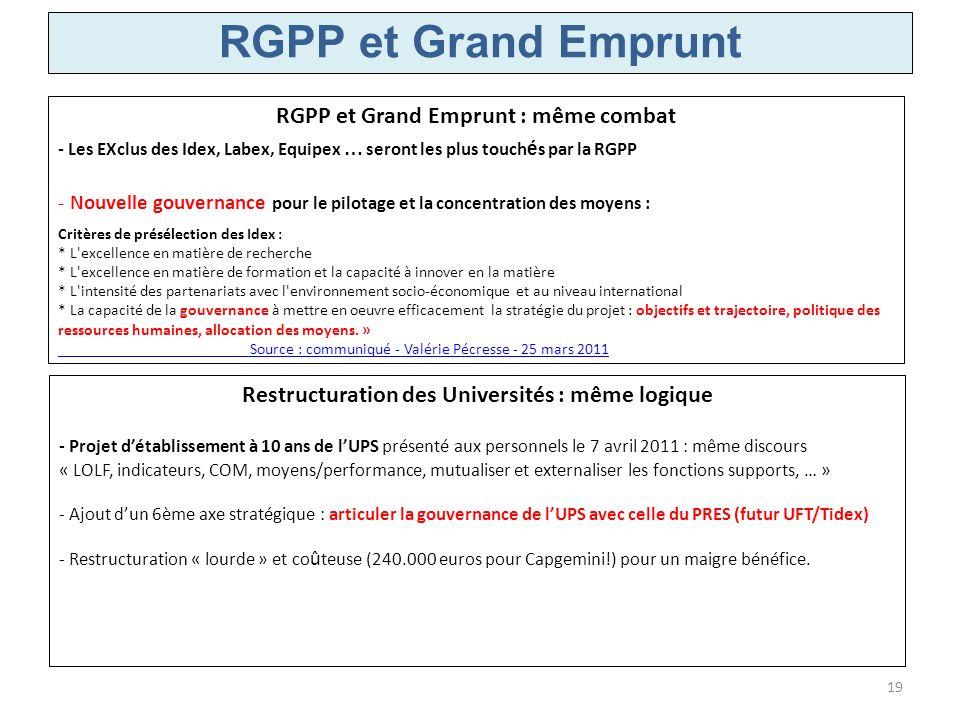 RGPP et Grand Emprunt : même combat - Les EXclus des Idex, Labex, Equipex … seront les plus touch é s par la RGPP - Nouvelle gouvernance pour le pilot