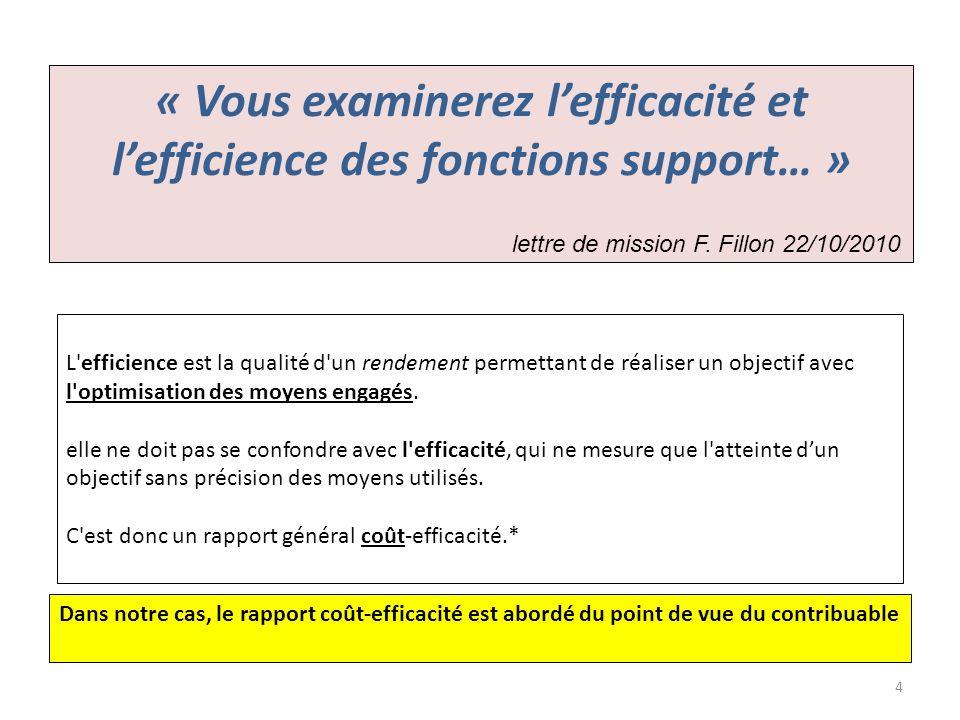 « Vous examinerez lefficacité et lefficience des fonctions support… » lettre de mission F. Fillon 22/10/2010 L'efficience est la qualité d'un rendemen