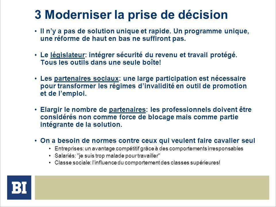 3 Moderniser la prise de décision Il ny a pas de solution unique et rapide. Un programme unique, une réforme de haut en bas ne suffiront pas. Le légis