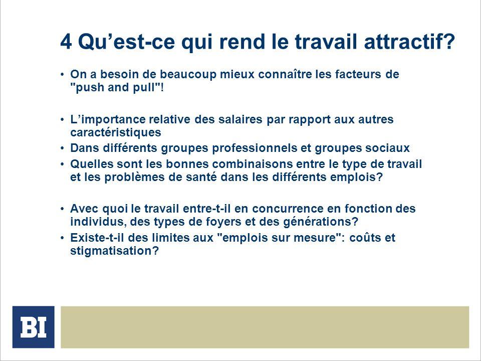 4 Quest-ce qui rend le travail attractif? On a besoin de beaucoup mieux connaître les facteurs de