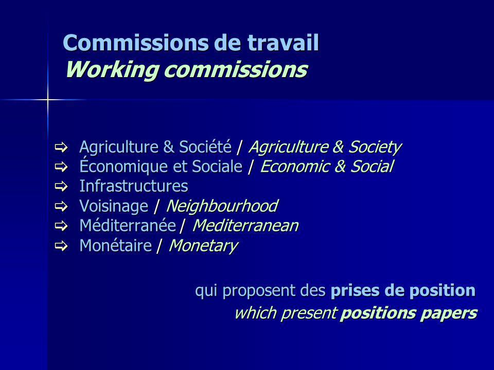 Commissions de travail Working commissions Agriculture & Société / Agriculture & Society Agriculture & Société / Agriculture & Society Économique et S