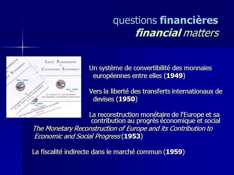 questions financières financial matters Un système de convertibilité des monnaies Un système de convertibilité des monnaies européennes entre elles (1
