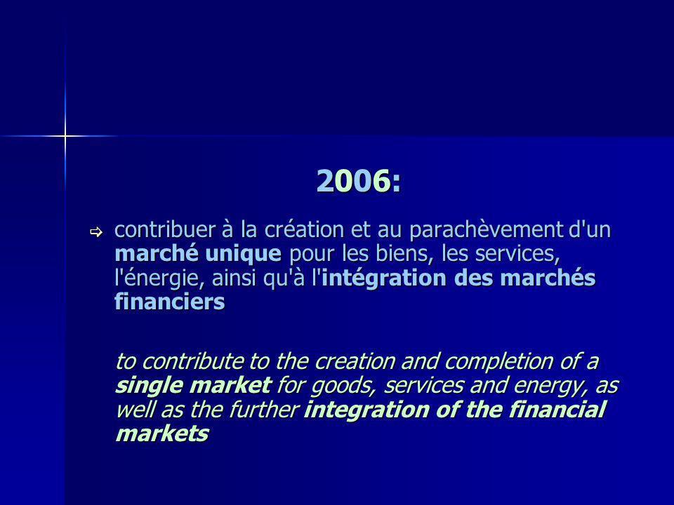 2006: contribuer à la création et au parachèvement d'un marché unique pour les biens, les services, l'énergie, ainsi qu'à l'intégration des marchés fi
