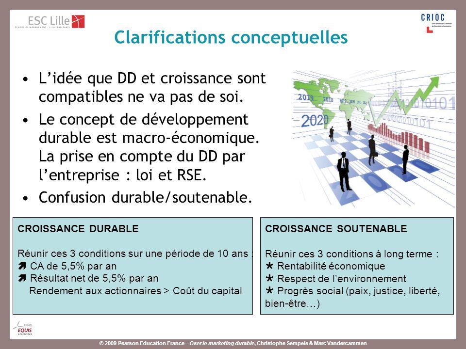 © 2009 Pearson Education France – Oser le marketing durable, Christophe Sempels & Marc Vandercammen Objectif : Montrer que les entreprises peuvent et doivent mettre au point des stratégies de croissance reposant sur le développement durable.