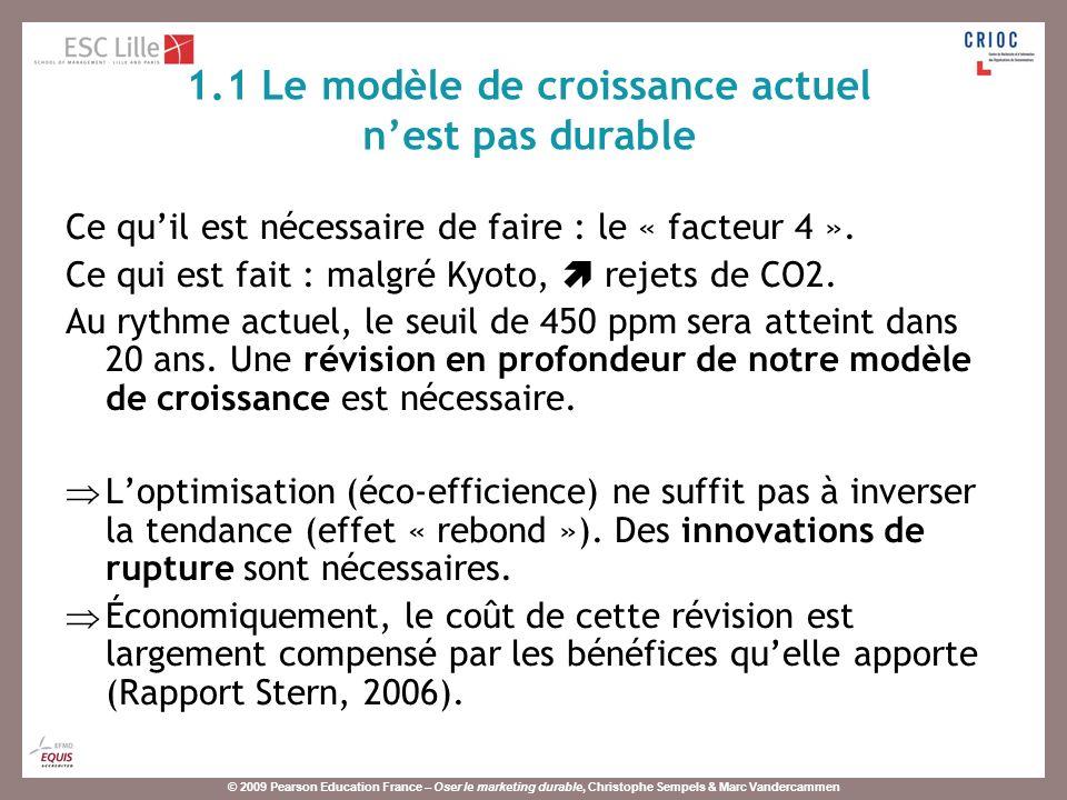 © 2009 Pearson Education France – Oser le marketing durable, Christophe Sempels & Marc Vandercammen La durabilité comme critère de qualité.