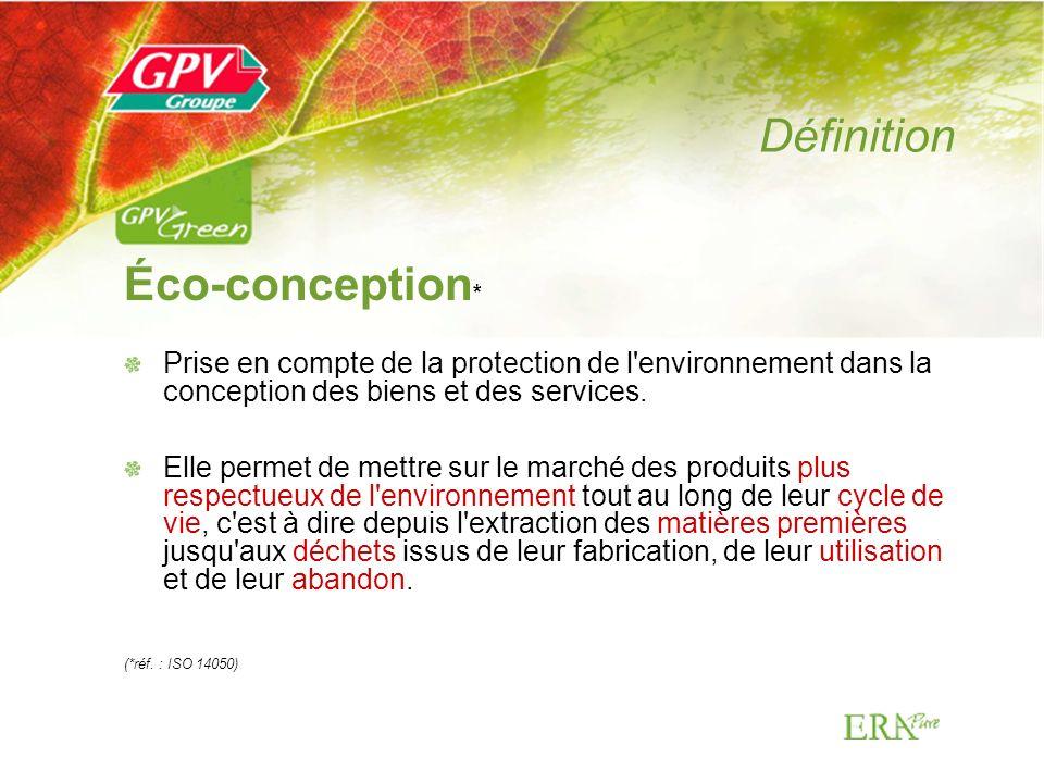 Objectifs de léco-conception Améliorer la qualité écologique dun produit Optimiser les efforts environnementaux lors de sa fabrication Agir là où les impacts sont les plus importants Éviter les transferts de pollution