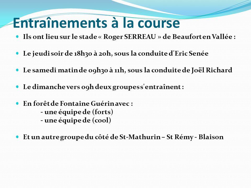 Entraînements à la course Ils ont lieu sur le stade « Roger SERREAU » de Beaufort en Vallée : Le jeudi soir de 18h30 à 20h, sous la conduite d'Eric Se