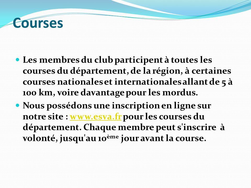 Courses Les membres du club participent à toutes les courses du département, de la région, à certaines courses nationales et internationales allant de
