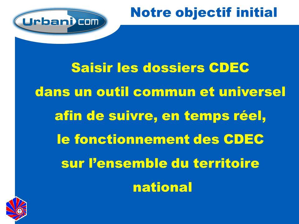 Notre objectif initial Saisir les dossiers CDEC dans un outil commun et universel afin de suivre, en temps réel, le fonctionnement des CDEC sur lensemble du territoire national