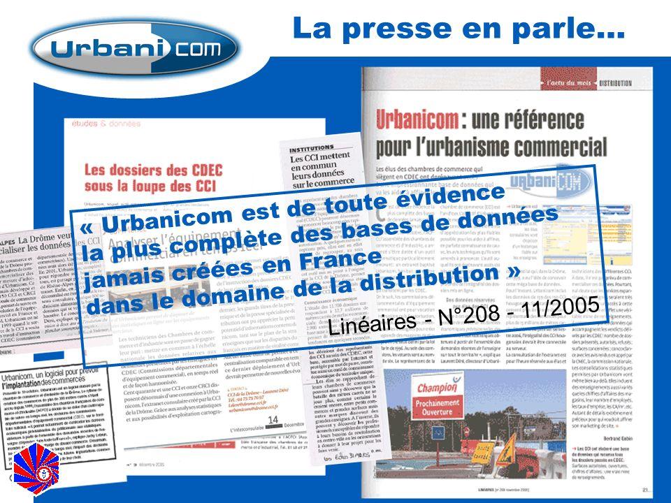 Image « Urbanicom est de toute évidence la plus complète des bases de données jamais créées en France dans le domaine de la distribution » Linéaires - N°208 - 11/2005 La presse en parle…