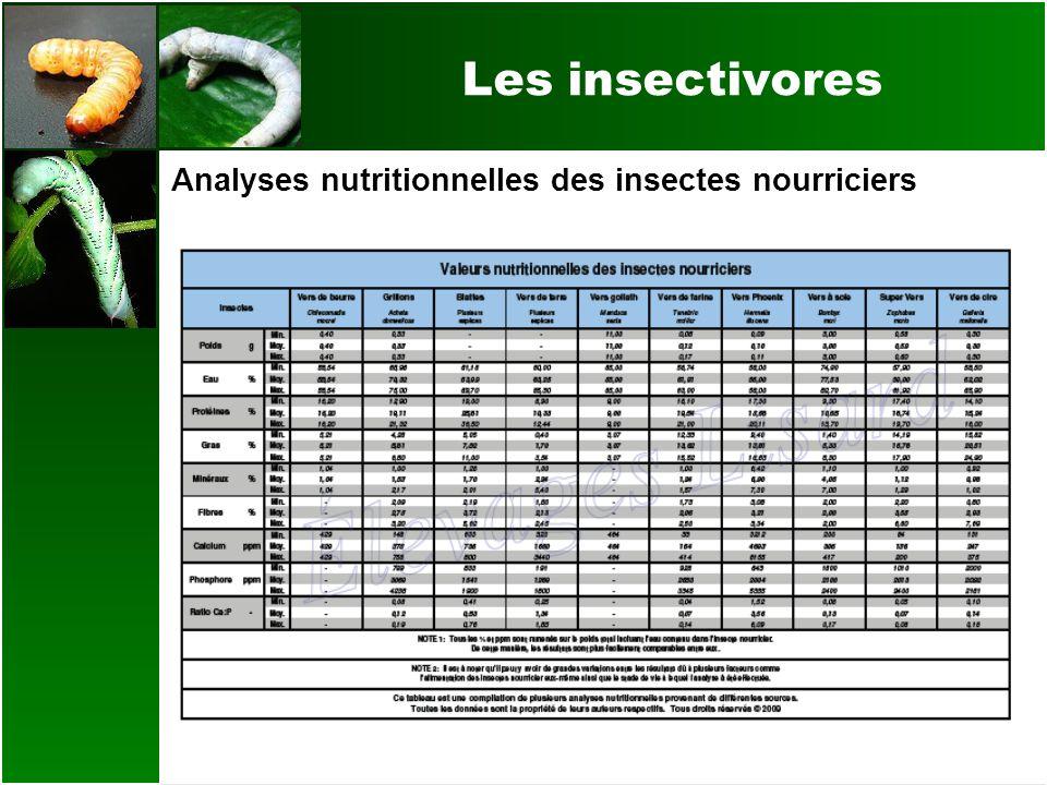 Les insectivores Analyses nutritionnelles des insectes nourriciers