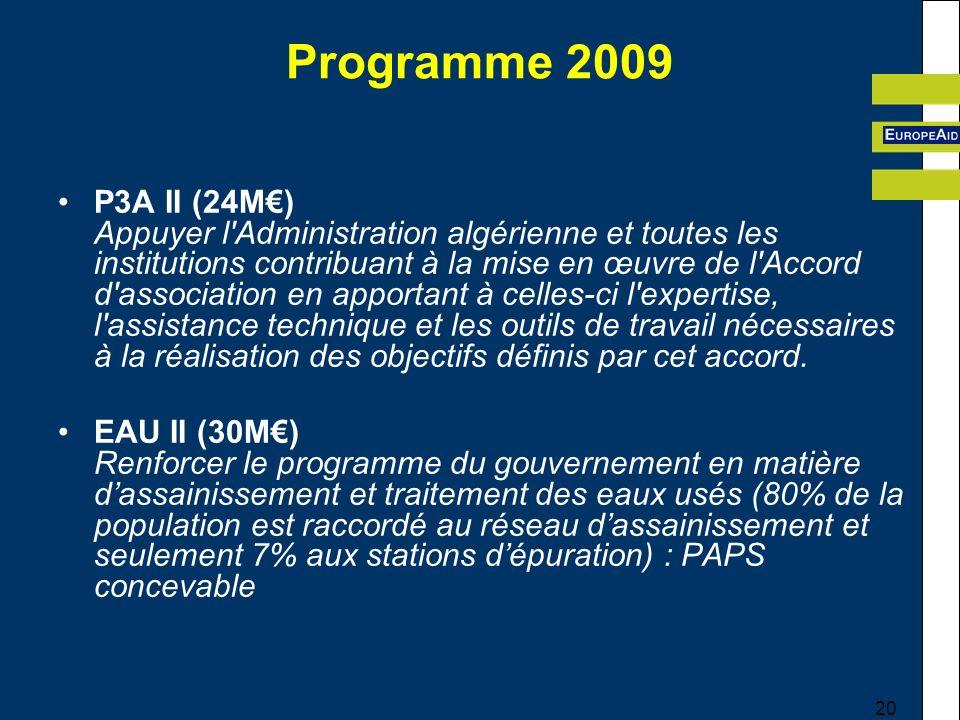 20 Programme 2009 P3A II (24M) Appuyer l Administration algérienne et toutes les institutions contribuant à la mise en œuvre de l Accord d association en apportant à celles-ci l expertise, l assistance technique et les outils de travail nécessaires à la réalisation des objectifs définis par cet accord.